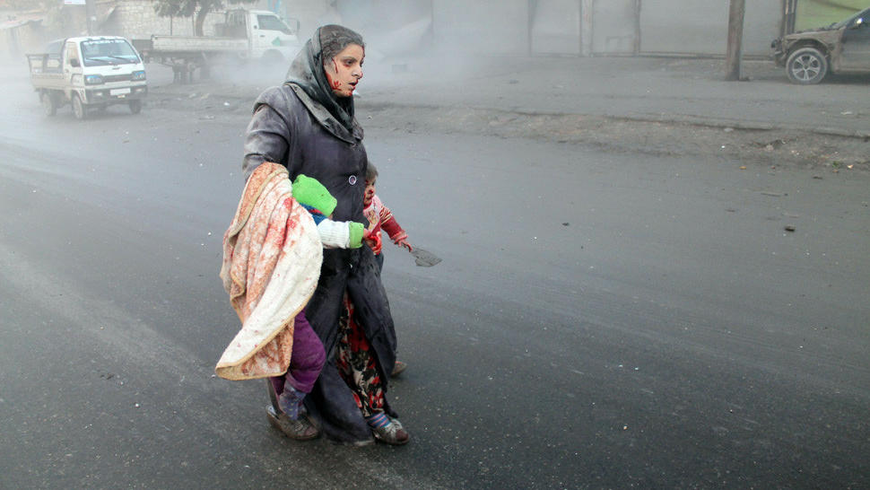 Wounded Syrian woman