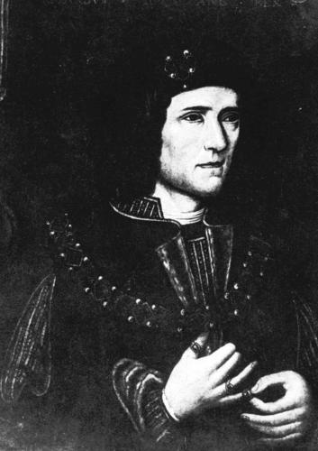 A painting depicts Richard III. Researchers announced in February 2013 that remains discovered the previous summer are those of the English king.