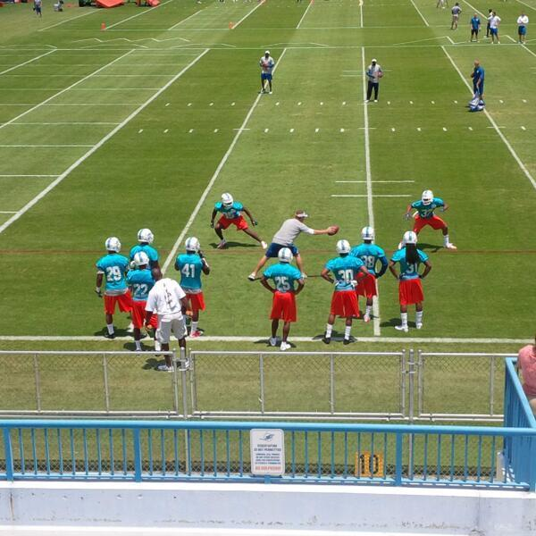 Miami Dolphins rookies take the field for the first day of minicamp in Davie.