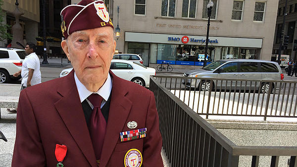 Bill Howland, 89, of Lisle, at Saturday's Memorial Day event at the Richard J. Daley Center.