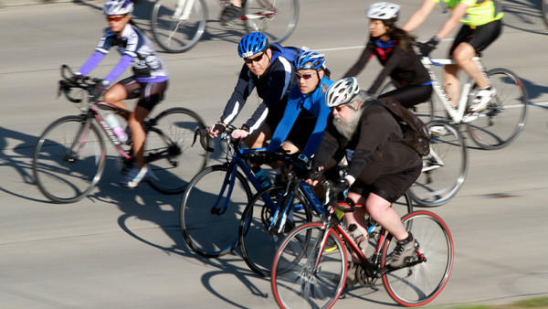 Bicyclists head south on Lake Shore Drive at 35th Street during Sunday's Bike the Drive event.