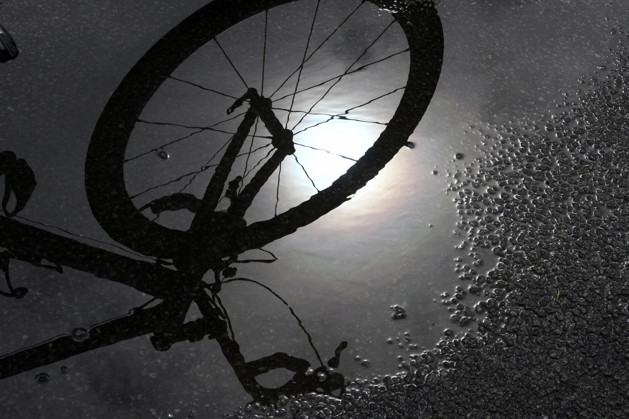 A bicycle reflects in a water puddle. Highland Park is planning on improving bicycling trails and sidewalks this summer.