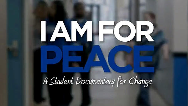 "A frame from a video on the ""I am for Peace"" campaign being pushed by students at Perspectives Charter School in Chicago."