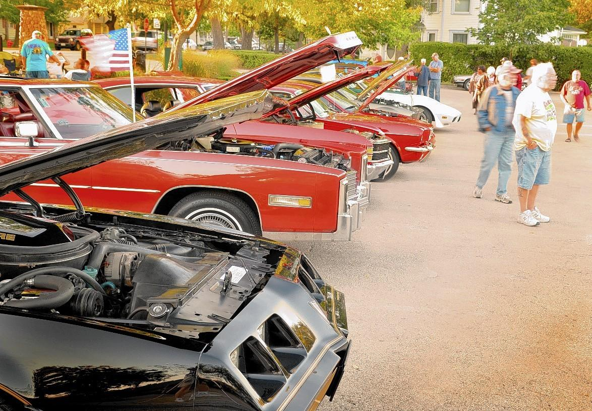 Some 300 cars fill four lots and line the streets during a Frankfort Car Club's cruise night in 2013.