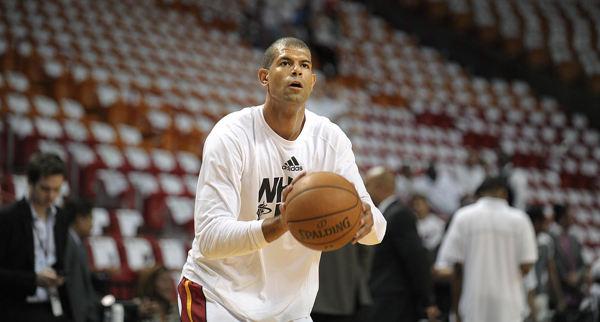 Miami Heat forward Shane Battier warms up before the start of Game 4 of the Eastern Conference Finals against the Indiana Pacers, Monday, May 26, 2014, at AmericanAirlines Arena. Michael Laughlin, South Florida Sun Sentinel
