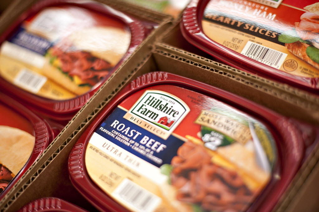 Packages of Hillshire Farm deli meat are displayed for sale in a supermarket in Princeton, Ill.