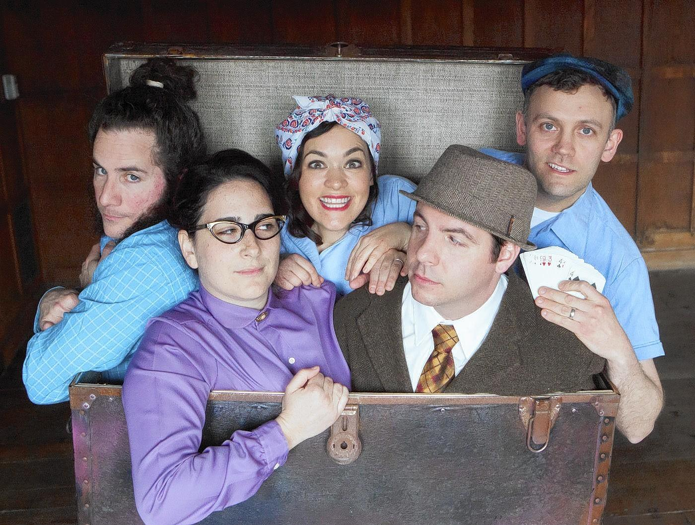 "Matthew Gaffney, Rachel Alderman, Lisa Daly, Lou Mangini and Ryan Gardner make up the cast of the premiere of the site-specific production of ""Gilbert the Great"" by Broken Umbrella Theartre."