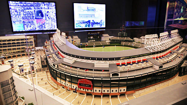 The model of the Wrigley Field plans which have been slightly altered with more signs added. The video board in left field has been lowered a small amount and the lights taken off in the new plan.