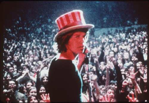 "Mick Jagger at Madison Square Garden in 1969. This shot was used in 1970 film ""Gimme Shelter."""
