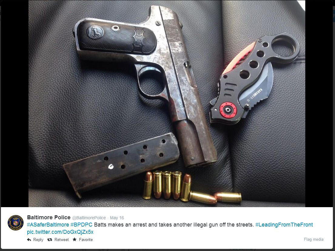 "Photo of a .32 caliber handgun seized in an arrest personally made by Police Commissioner Anthony W. Batts. The suspect, Alante Moultrie, is being held without bond. Baltimore Police Tweet: ""Batts makes an arrest and takes another illegal gun off the streets."""