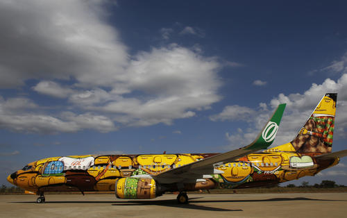 The Boeing 737 aircraft of Brazilian airline Gol, which will travel with the Brazilian national soccer team during the 2014 World Cup, is presented to the media at Confins International Airport, in Belo Horizonte May 27, 2014.