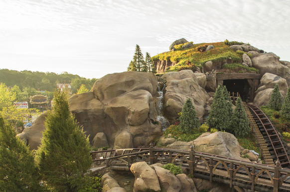 Greenery surrounds Disney's Seven Dwarfs Mine Train, now open at Magic Kingdom.
