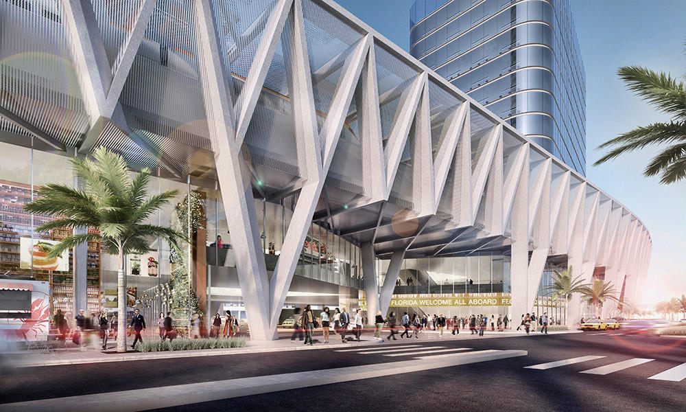 All Aboard Florida officials announced plans for a downtown Miami station that will include a 50-foot tall platform above the streets and nearly 3 million square feet in development surrounding the landmark hub. Plans also are in the works for stations in downtown Fort Lauderdale and downtown West Palm Beach.