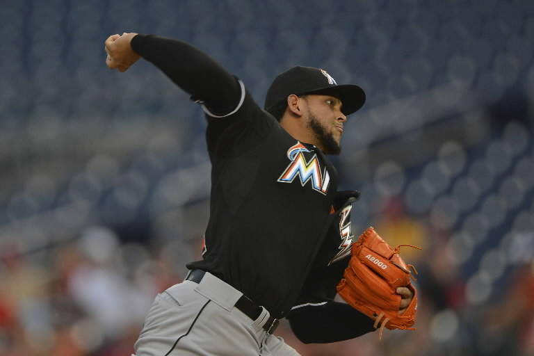 Miami Marlins starting pitcher Henderson Alvarez (37) pitches during the second inning against the Washington Nationals at Nationals Park.