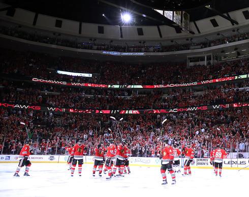The Blackhawks celebrate the Game 5 win.