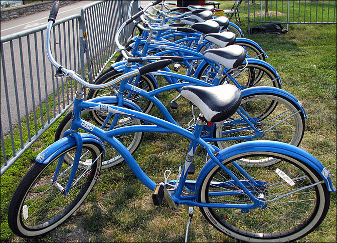 Bicycles like these, part of the city's Ride Around the Reservoir program, were stolen, officials said.