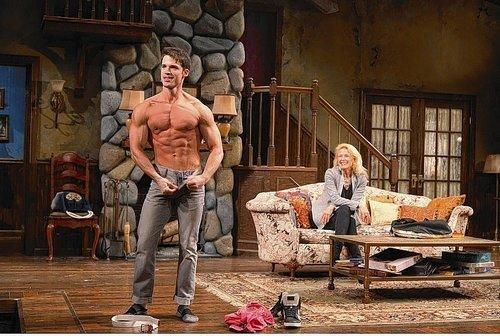 """David Gregory plays Spike and Leslie Hendrix is Masha in the Hartford Stage production of """"Vanya and Sonia and Masha and Spike."""""""