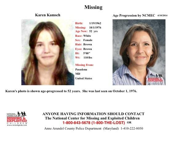 Anne Arundel County police are seeking information on Karen Kamsch, who may have been missing since 1976.