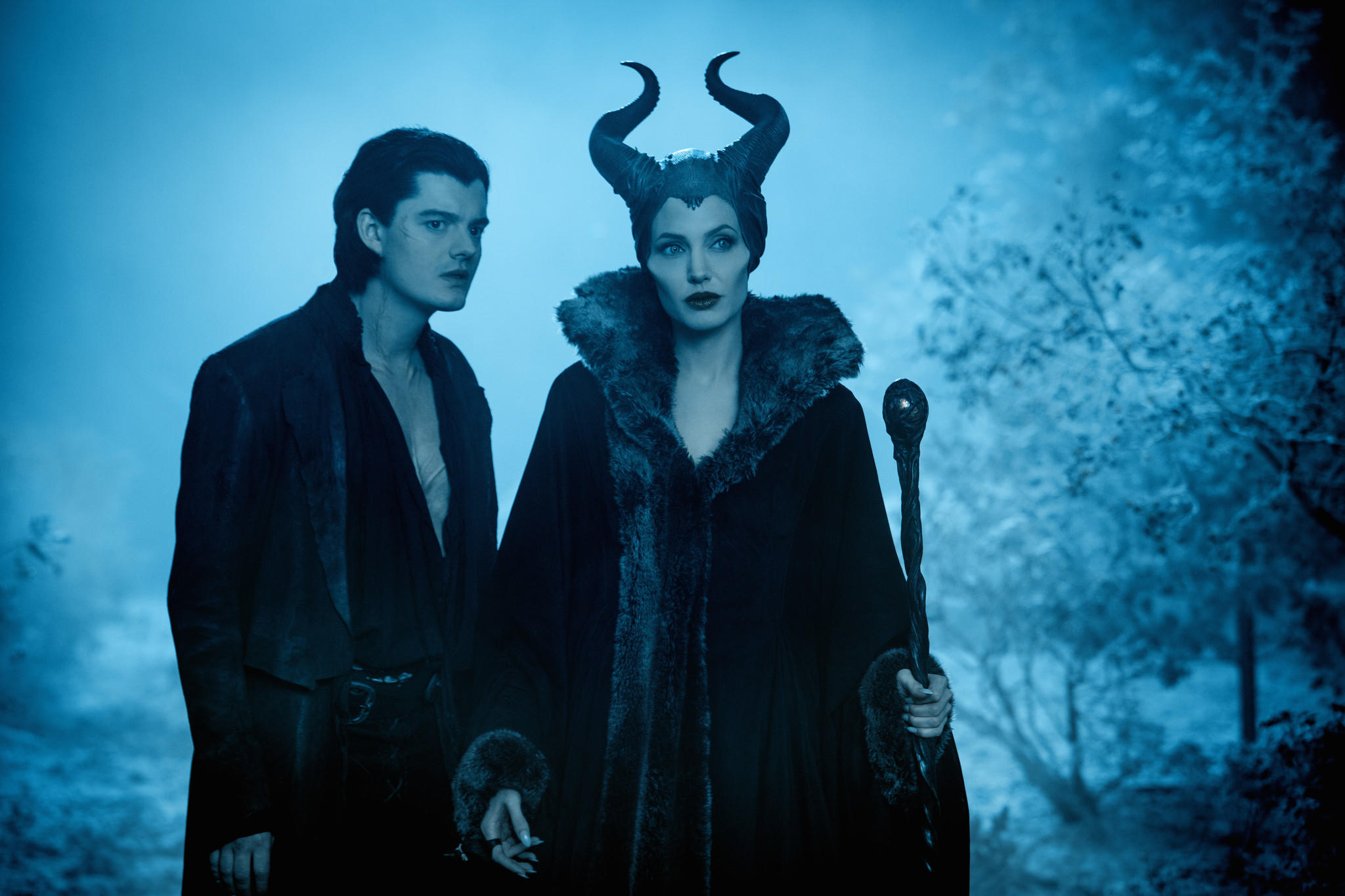 "Disney's ""Maleficent""..L to R: Diaval (Sam Riley) and Maleficent (Angelina Jolie)..Ph: Frank Connor.. Disney Enterprises, Inc. All Rights Reserved.."