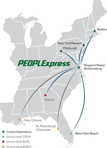 People Express announced today daily round-trip flights from Newport News  to Newark, Boston and Pittsburgh will begin on June 30.