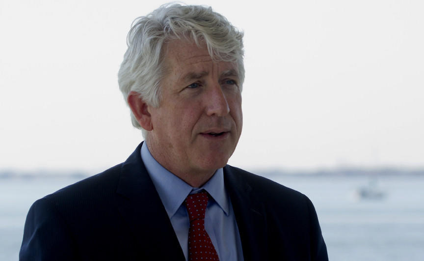 Attorney General Mark R. Herring during the Press Conf. at Ft. Monroe this morning in Hampton on the Brief defends Virginia's Bay restoration plan from legal action from American Farm Bureau and other States.