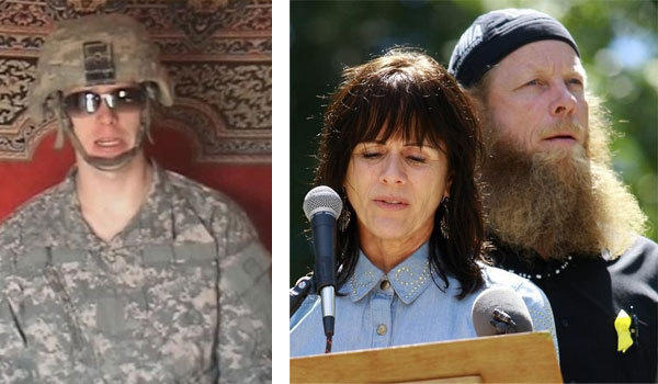 Former U.S POW Sergeant Bowe Bergdahl is pictured in Taliban video footage released last year. Right: Bergdahl's parents at a rally on their son's birthday.
