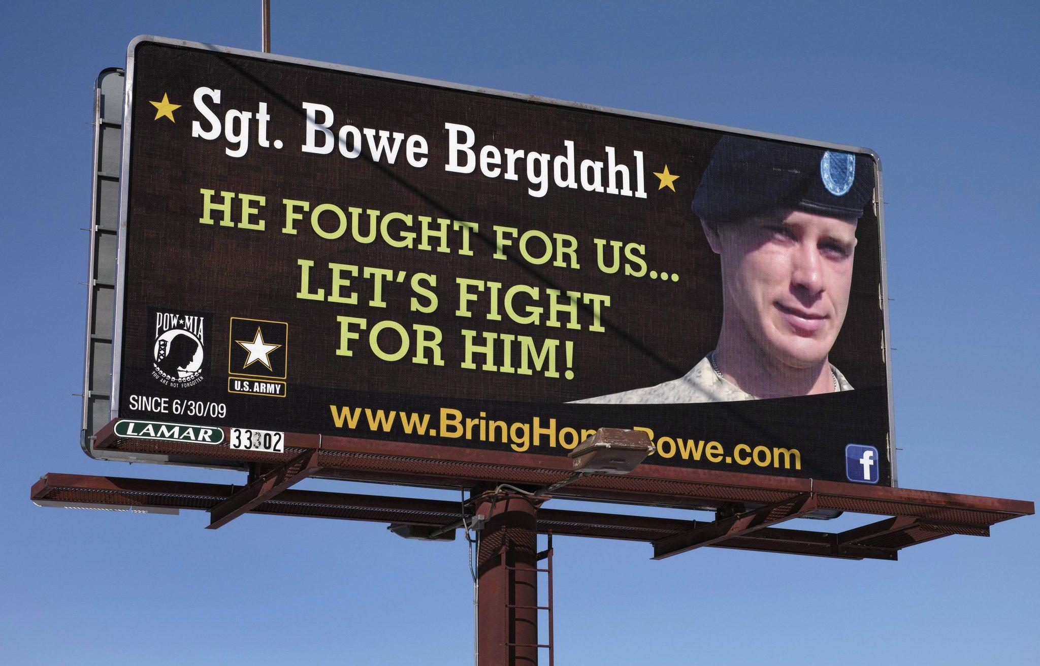 A billboard calling for the release of U.S. Army Sergeant Bowe Bergdahl, held for nearly five years by the Taliban after being captured in Afghanistan, is shown in this picture taken near Spokane, Washington.