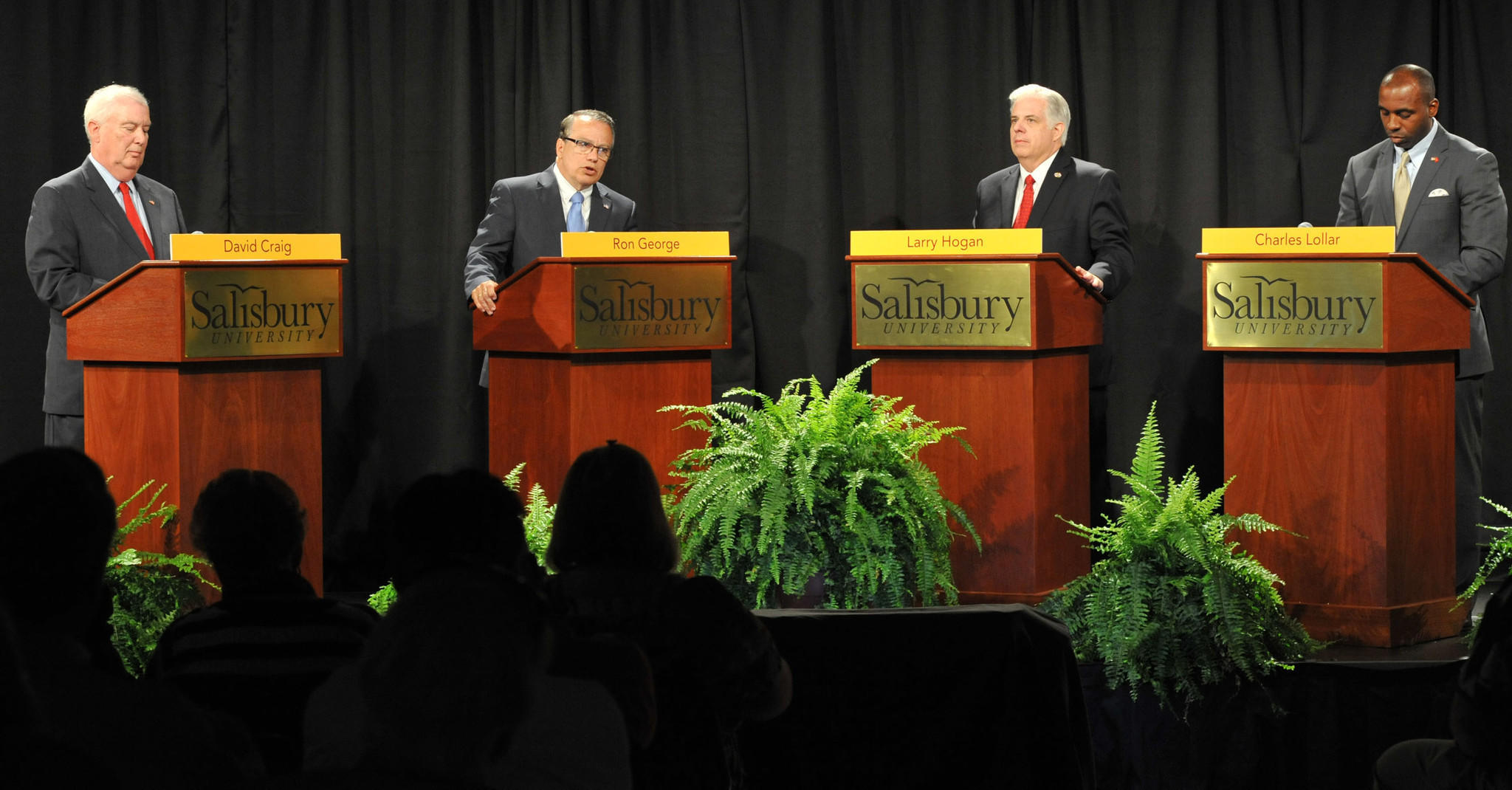GOP gubernatorial candidates, from left, David R. Craig, Ron George, Larry Hogan and Charles Lollar face off in a debate at Salisbury University.