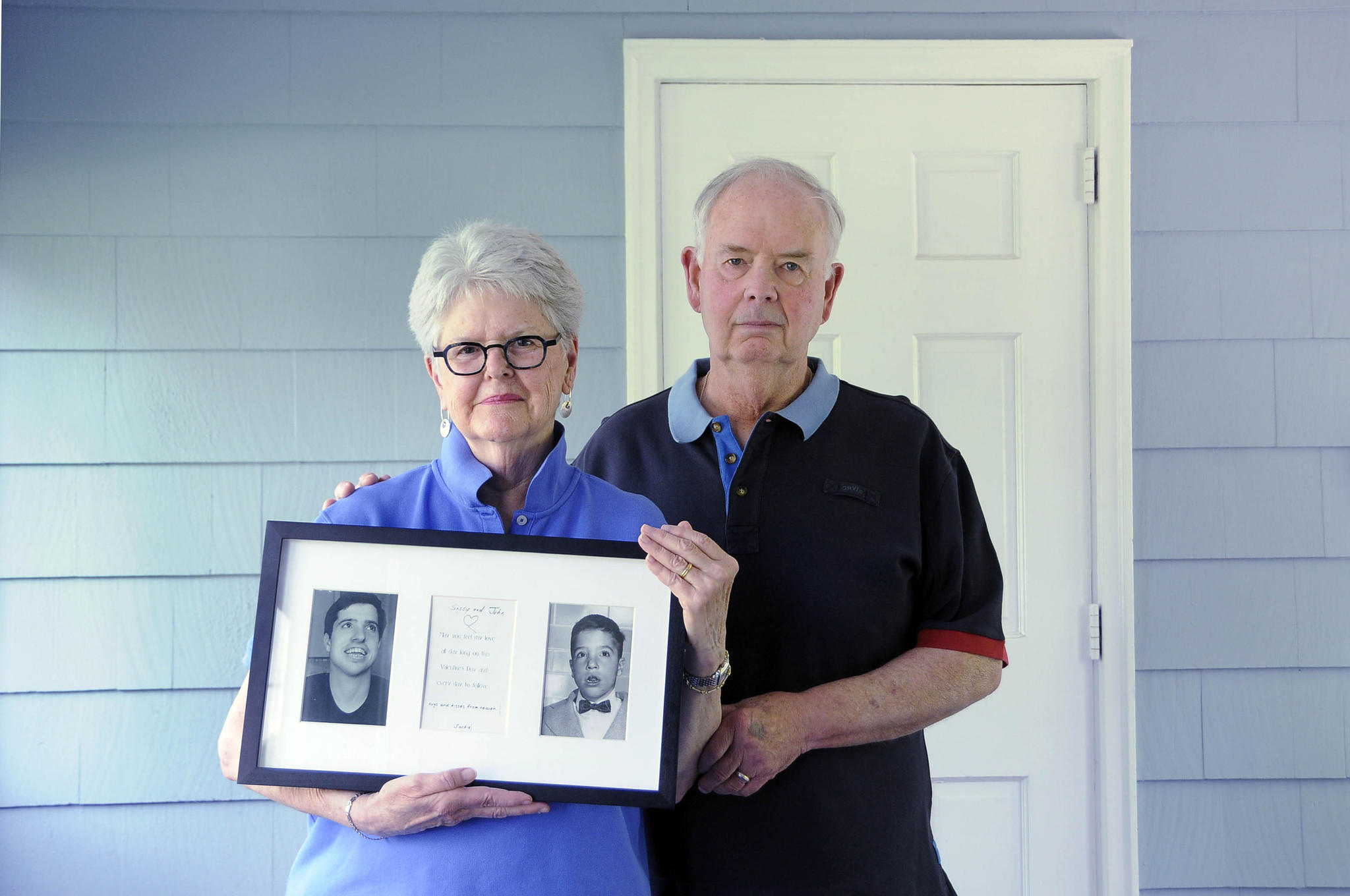 Beverly and John Matakaetis, of Newington, have been advocating for an investigation into the November 2012 death of Beverly's brother, Jack Kiley, Jr., a developmentally disabled patient at Southbury Training School, a death they believe was preventable. The frame holds two photos of Jack, one as a little boy and one taken several years later.