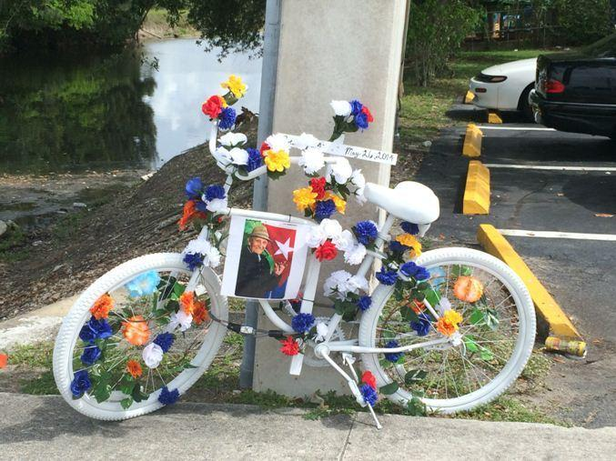 The family of Oscar Aleman, 87, put up a memorial where he was struck and killed in Tamarac.