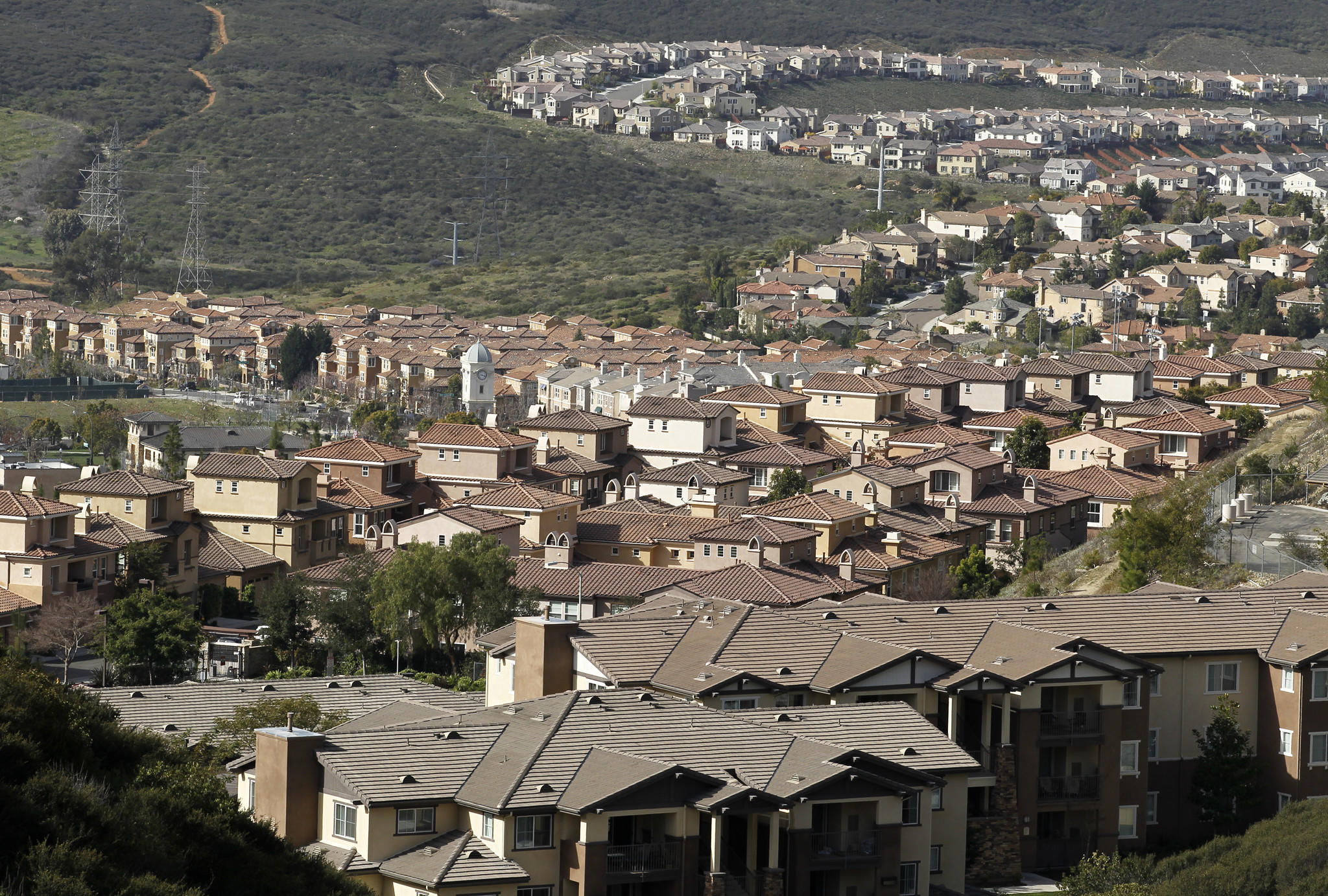 A sprawl of newly built housing is shown in San Marcos, Calif.
