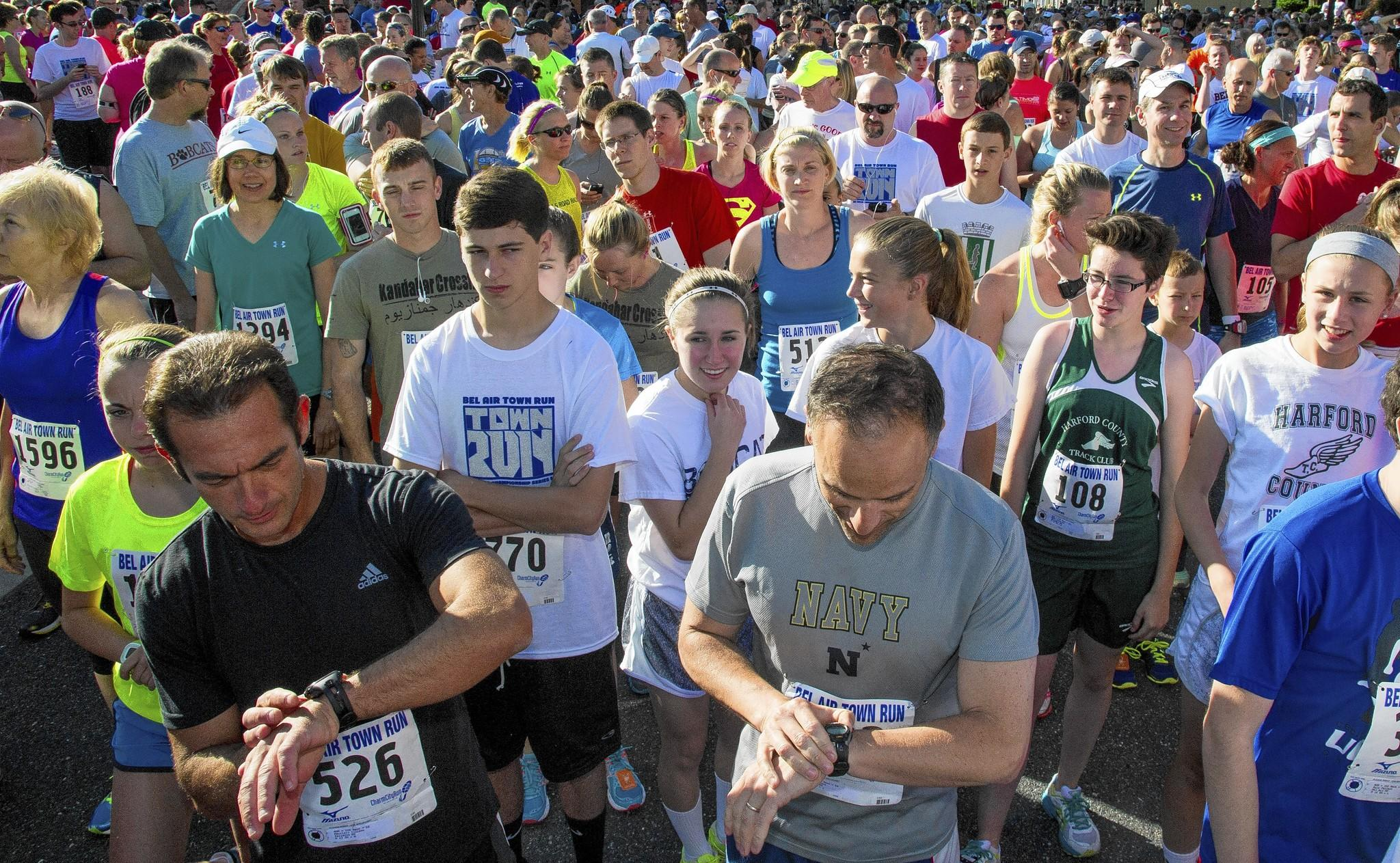 Runners get ready for the start of the Bel Air Town Run in downtown Bel Air Sunday morning.