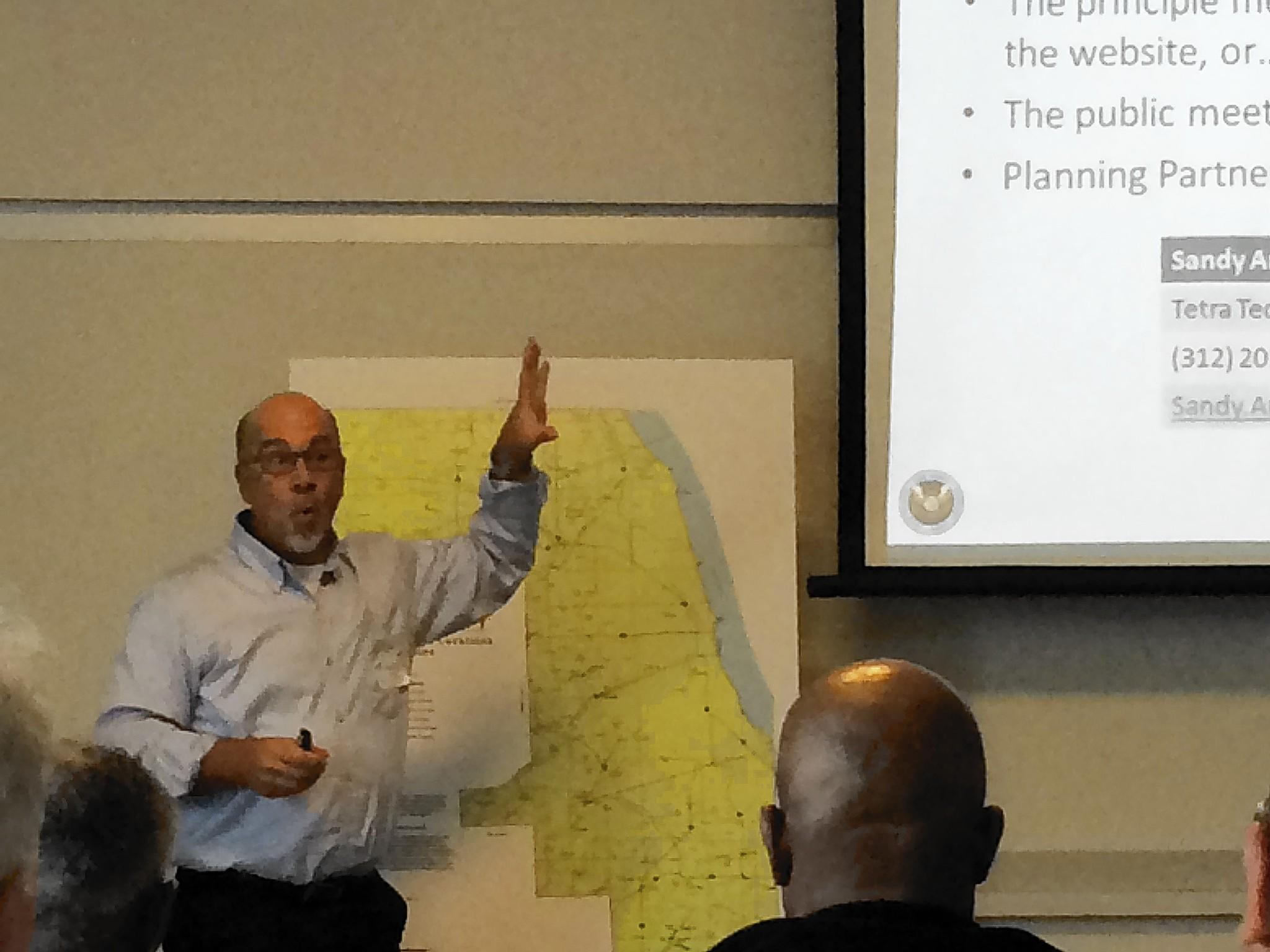 Rob Flaner, hazard mitigation program manager at Tetra Tech Inc., which the county hired to help develop its hazard mitigation plan, presents a draft of the plan at a meeting at the Orland Fire Protection District.