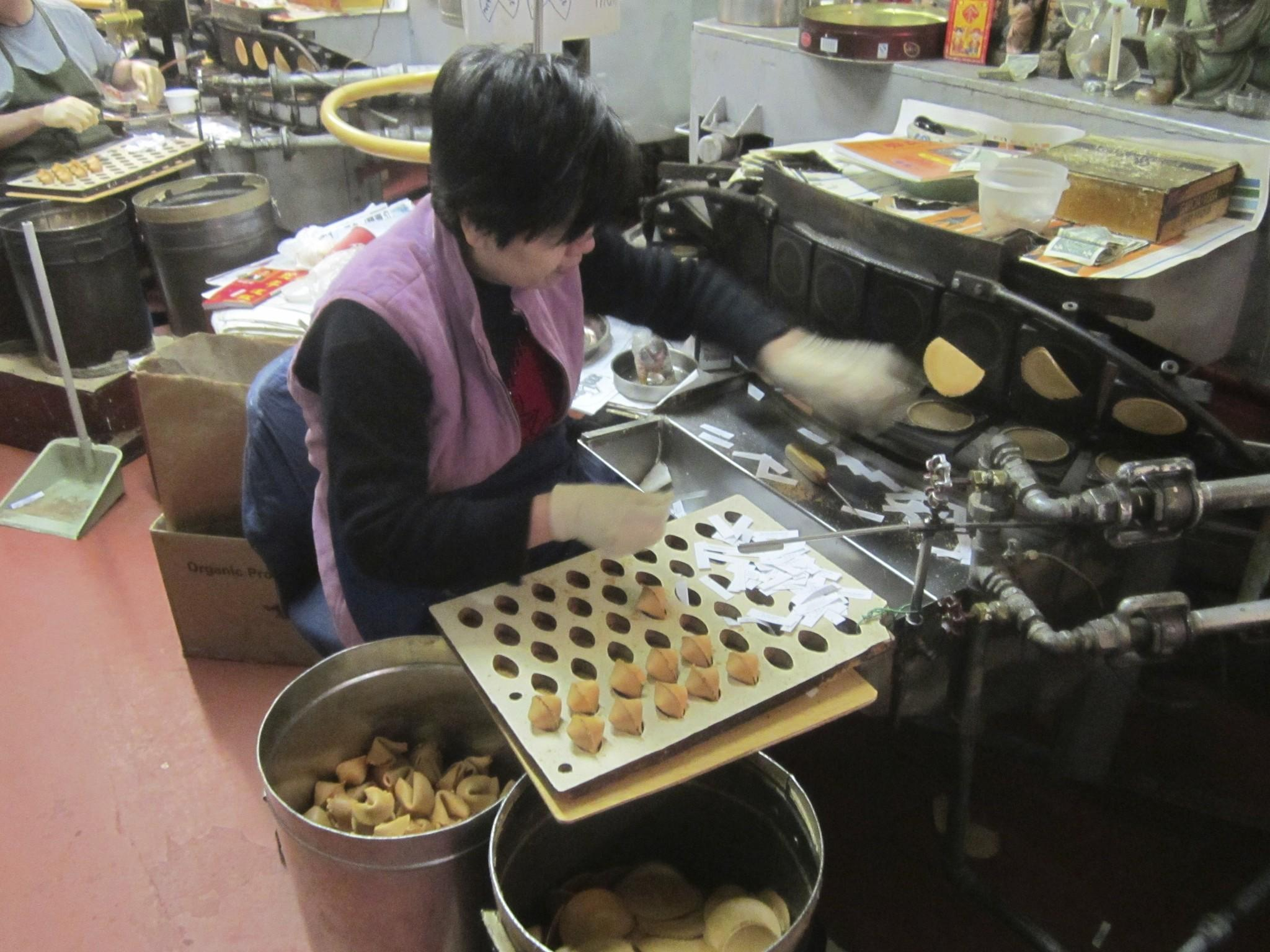A woman deftly folds and inserts fortunes into cooling cookies at the Golden Gate Fortune Cookie Company, which produces 20,000 handmade furtune cookies a day in San Francisco's Chinatown.