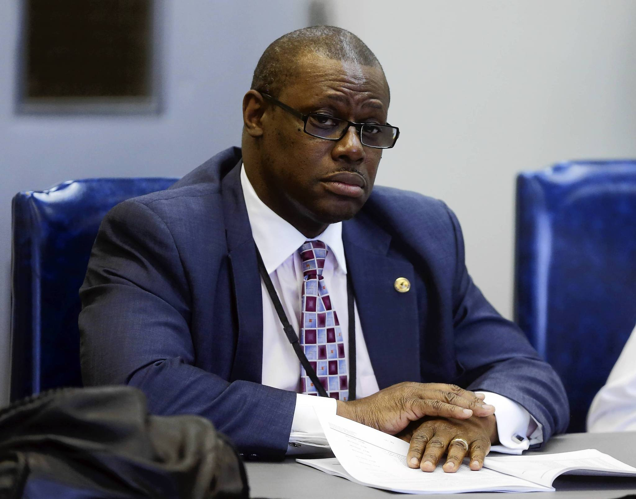 Rep. Derrick Smith listens during a Public Safety Committee hearing.