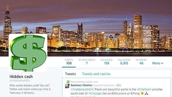 A portion of the home page for the @HiddencashChi Twitter account.