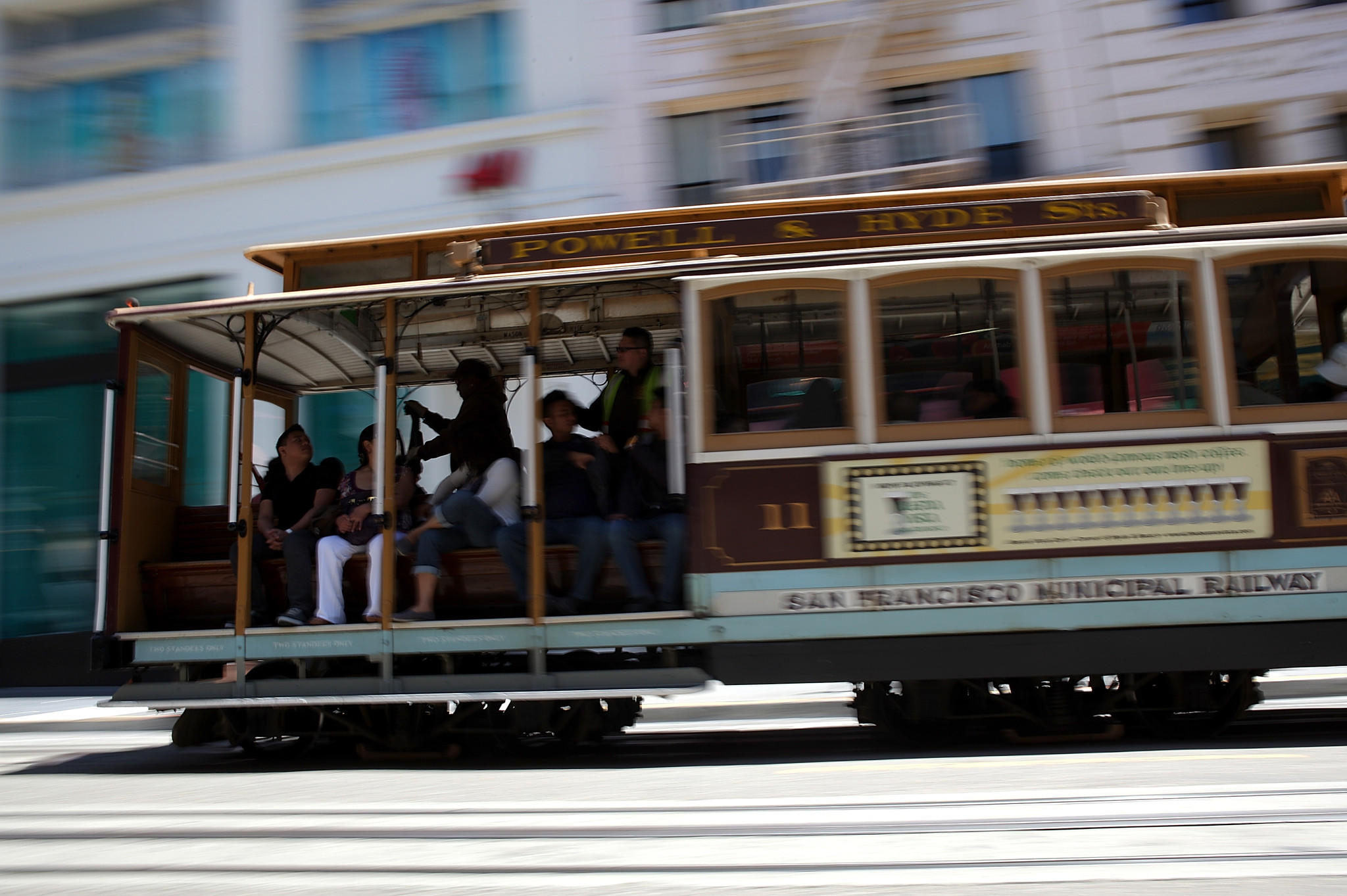 A cable car travels along Powell Street in San Francisco in 2011.