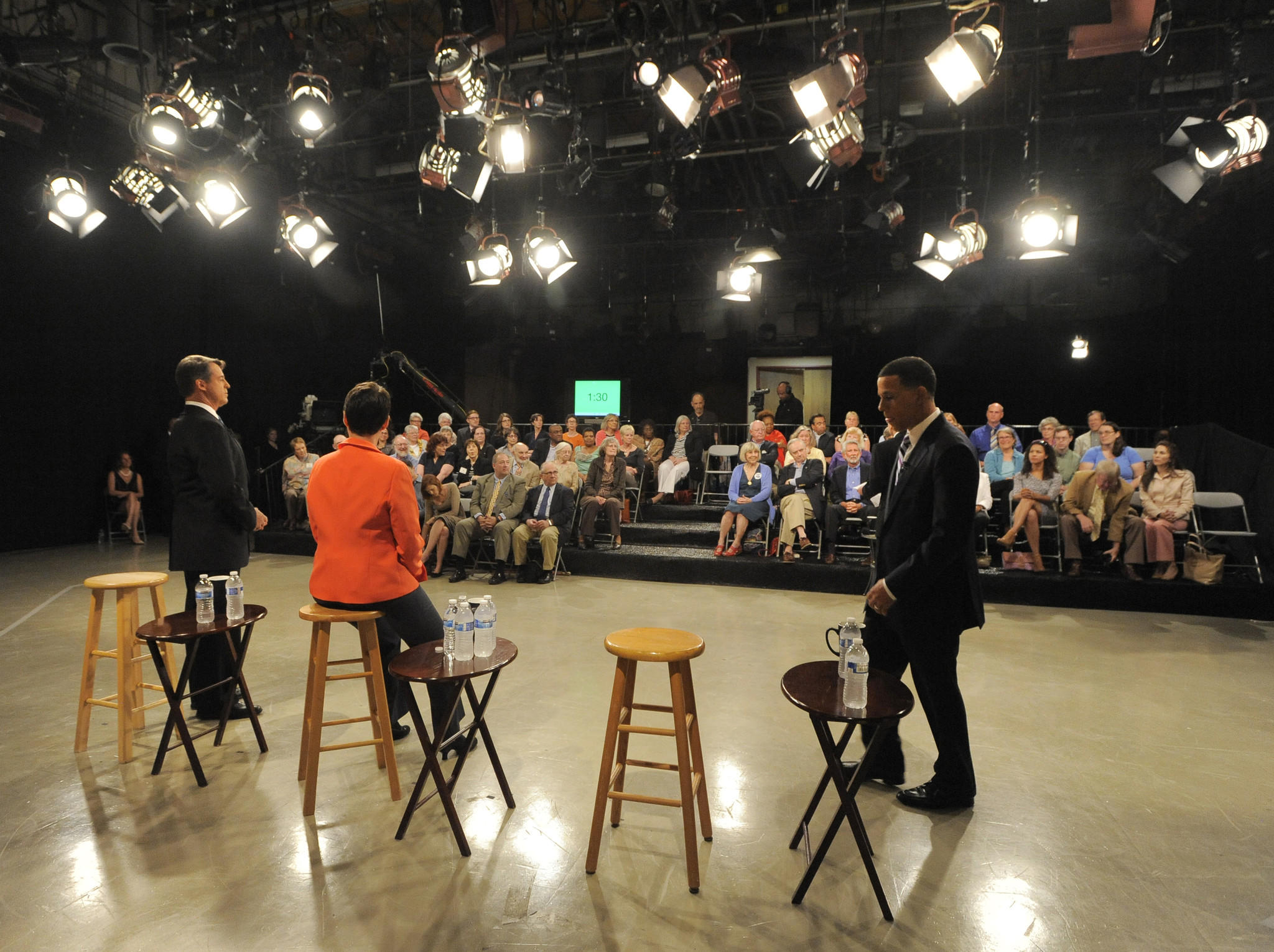 Owings Mills, MD--6/2/14- (L-R) Attorney General Douglas F. Gansler, Del. Heather Mizeur and Lt. Governor Anthony Brown, prepare for the start of the debate. Democracts running for governor debate at Maryland Public Television studios.