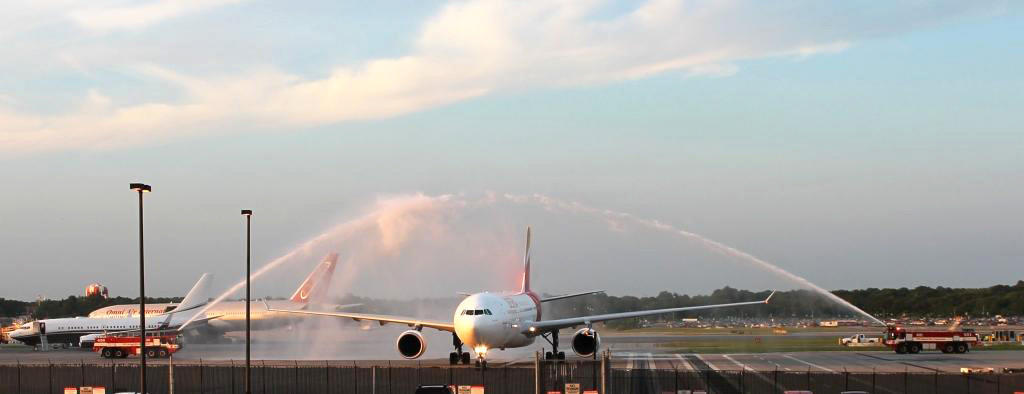 The BWI staff did a special water cannon welcome for the Spain's national soccer team on Monday at BWI airport.