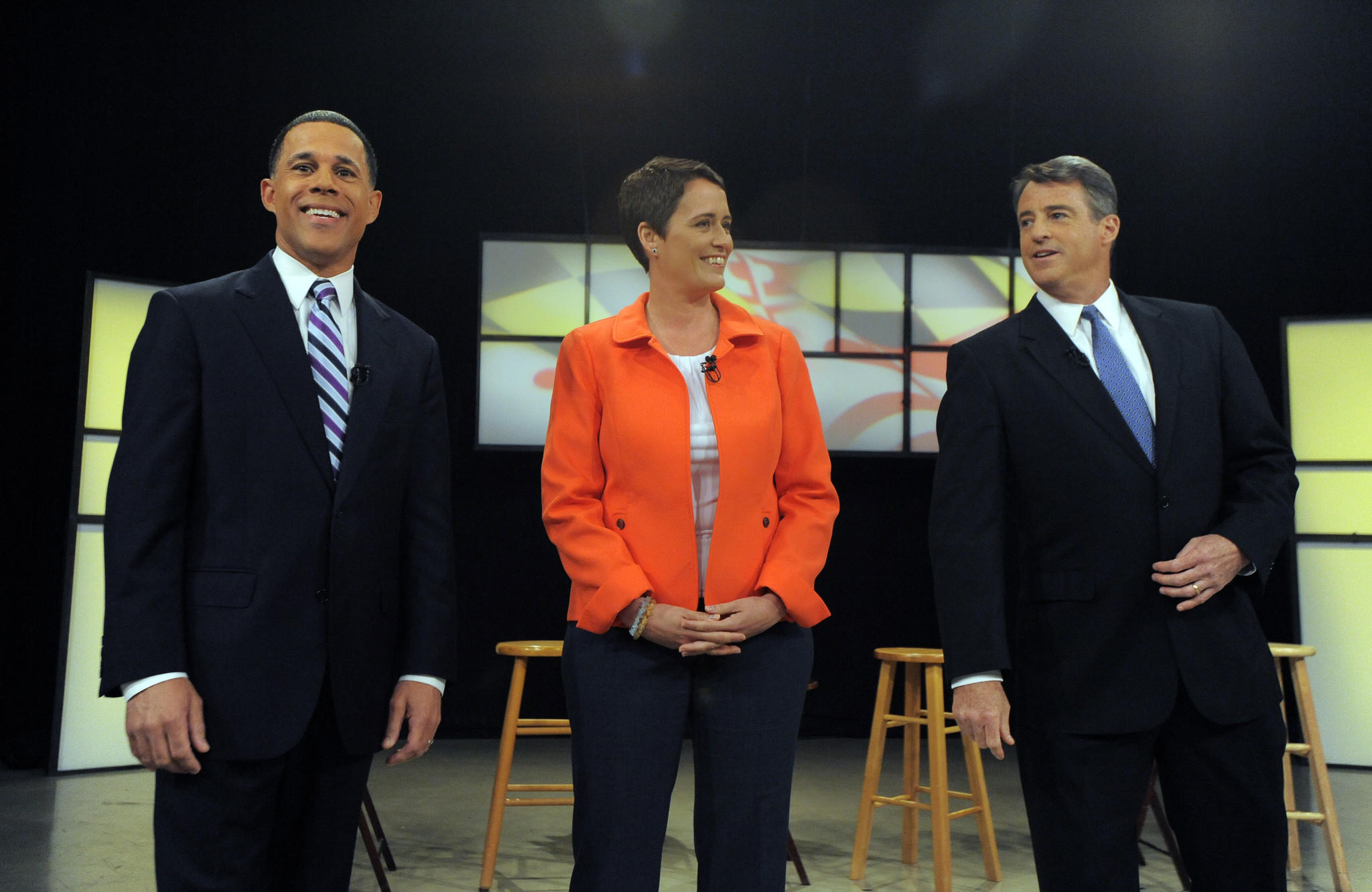 Lt. Governor Anthony Brown, from left, Del. Heather Mizeur and Attorney General Douglas F. Gansler stand together before the start of the Democratic Gubernatorial debate at Maryland Public Television studios.