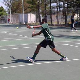 Bethel's Matthew Pittman volleys during the 2014 Group 6A South Region singles tournament at Varina High in Richmond. He edged First Colonial's Paul Ritter 2-6, 7-6 (7-5), 6-3 in a quarterfinal. Pittman qualified by taking place in the Monitor-Merrimac Conference 2 tournament.