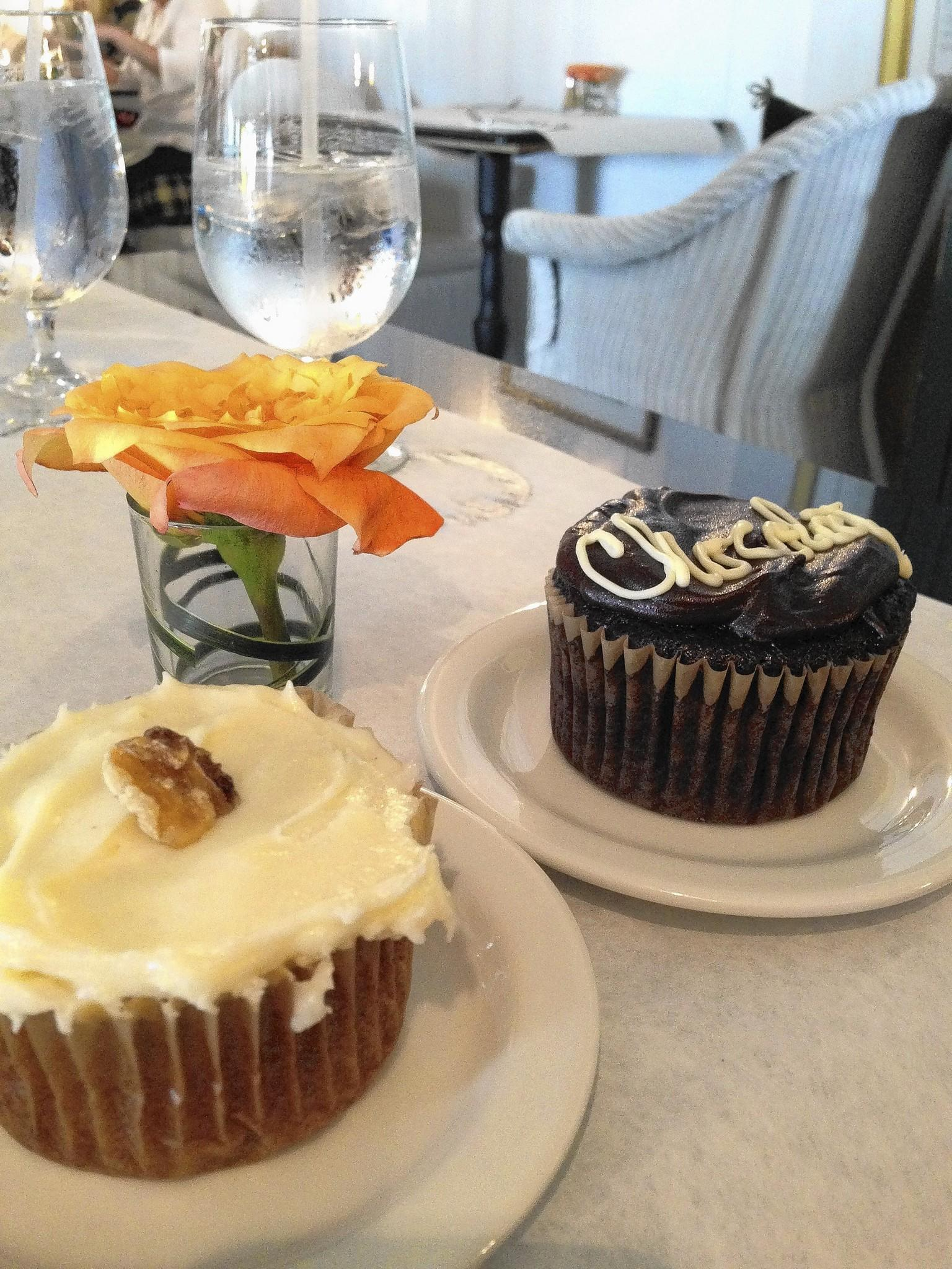 A carrot cupcake and a chocolate cupcake from Elizabeth's Cafe.