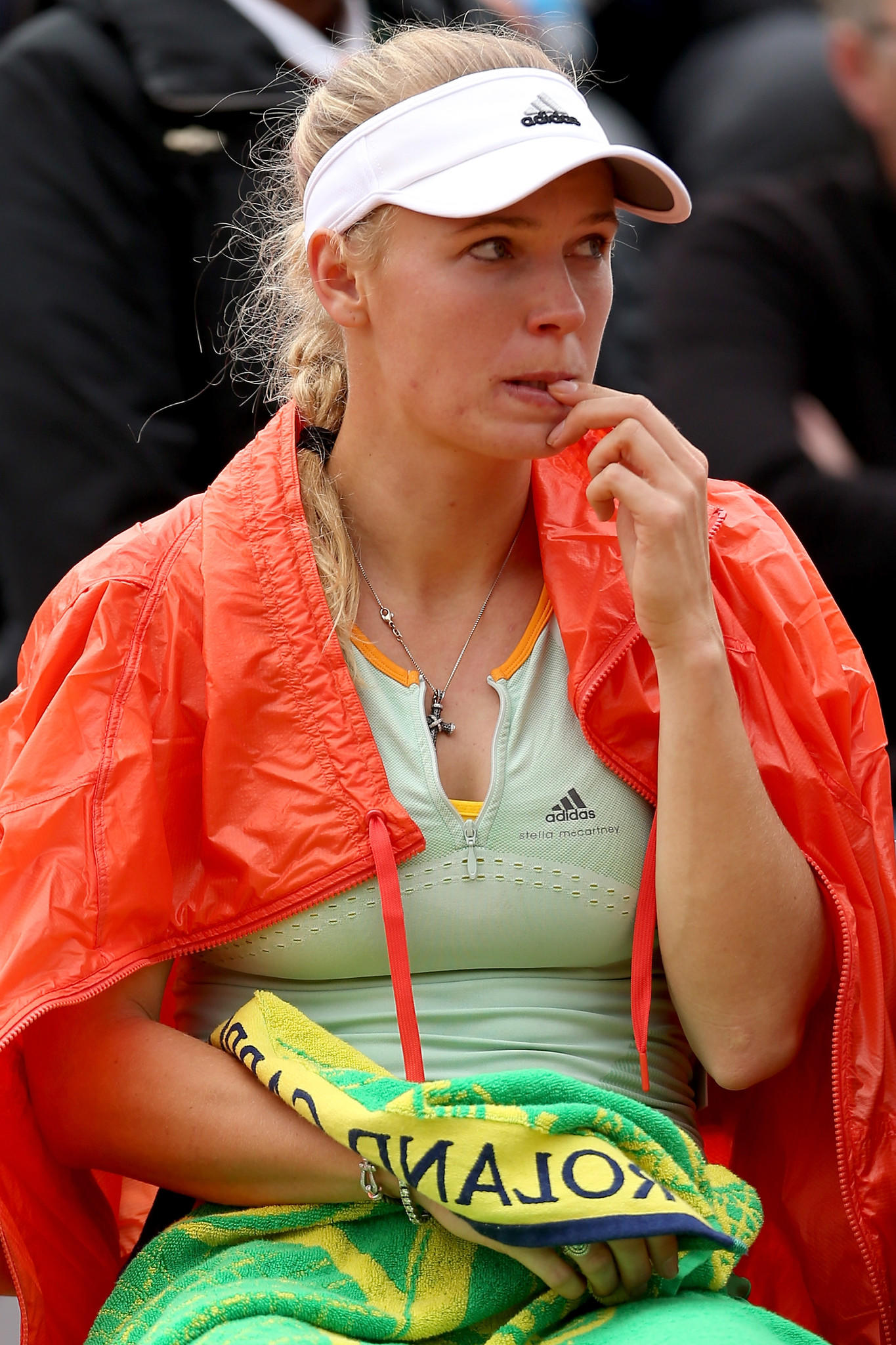 PARIS, FRANCE - MAY 27: Caroline Wozniacki of Denmark reacts during a break in her women's singles match against Yanina Wickmayer of Belgium on day three of the French Open at Roland Garros on May 27, 2014 in Paris, France. (Photo by Matthew Stockman/Getty Images) ORG XMIT: 492605691