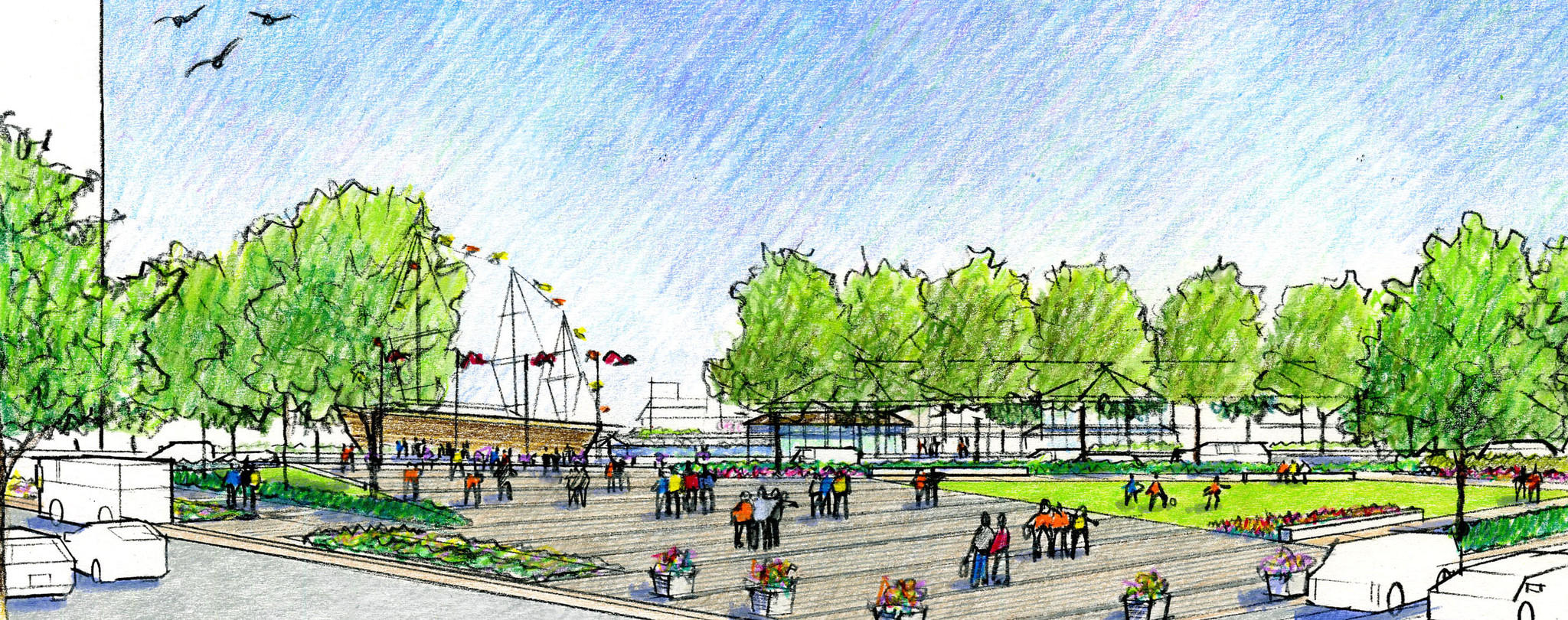 Rendering of a revamped McKeldin Plaza