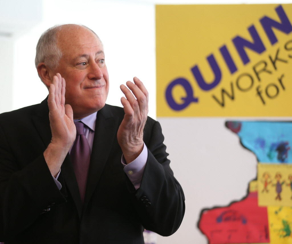 Gov. Pat Quinn, seen here picking up a union endorsement in March, attacked challenger Bruce Rauner for a lack of specifics today.