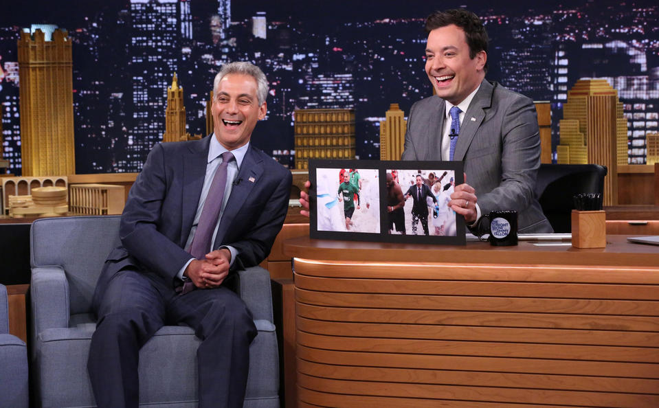 "Chicago Mayor Rahm Emanuel and Jimmy Fallon discuss their polar plunge earlier this year on Tuesday night's ""Tonight Show Starring Jimmy Fallon."""