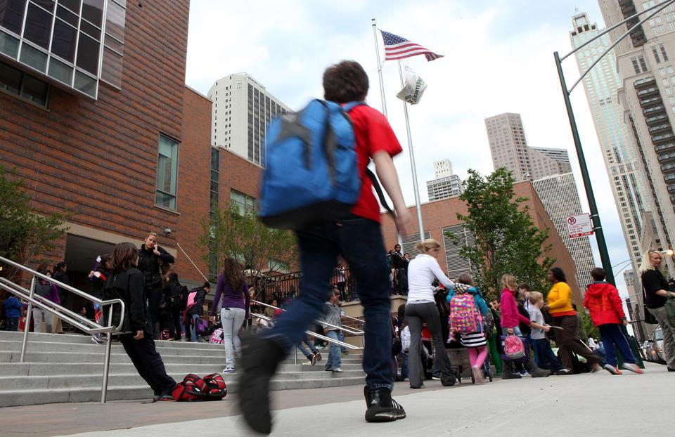 Students outside Ogden International School in Chicago.