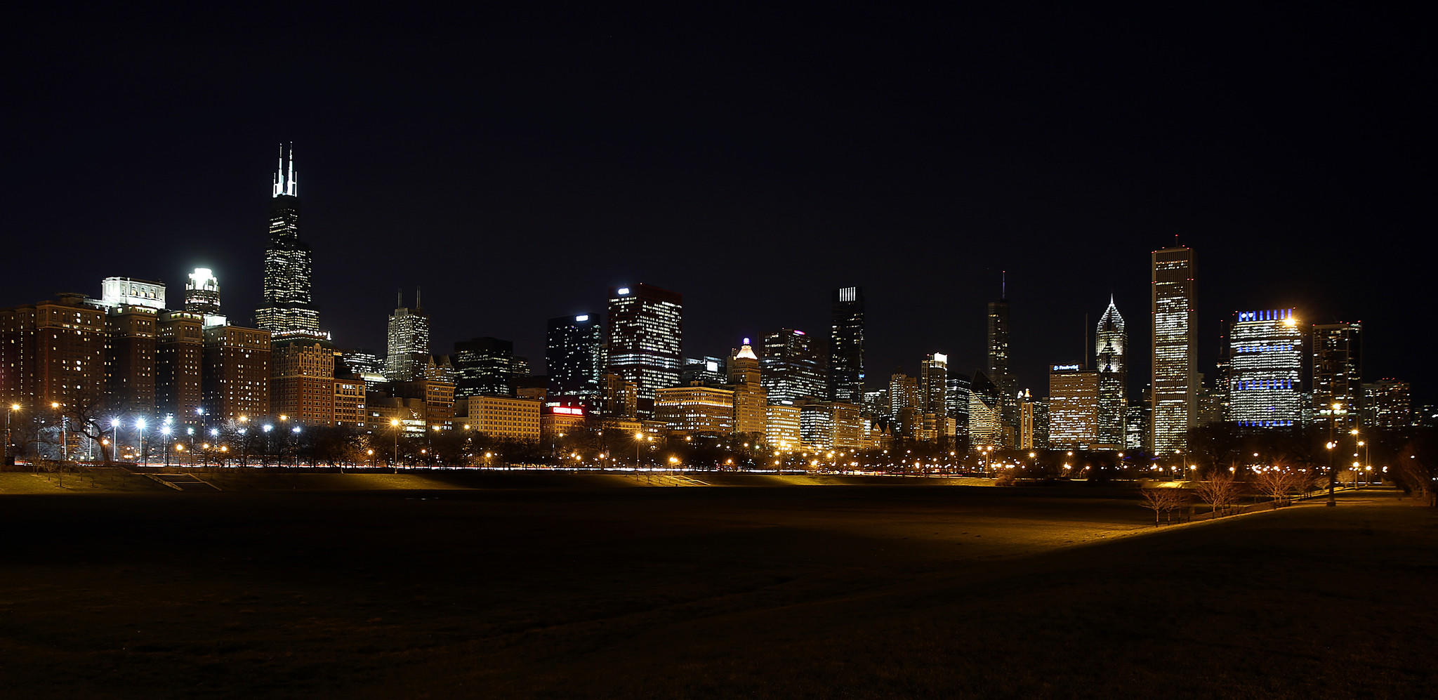 A twinkling Chicago skyline graces Grant Park on a January night.