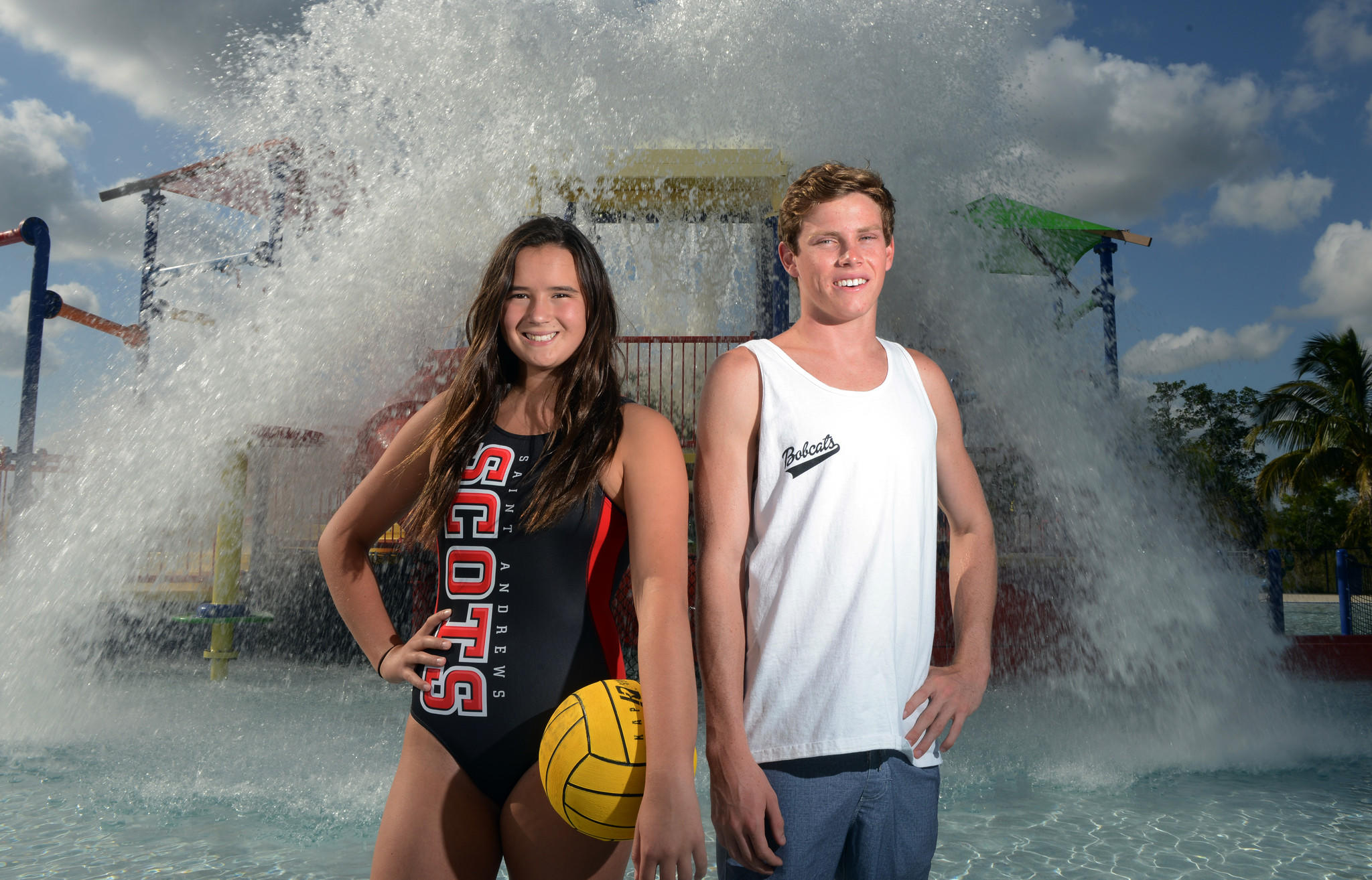 Kate Cassidy of St.Andrew's School and Cole Grady of Boca Raton High are the water polo players of the year. Spring 2014 All County Players of the Year. Deerfield Beach, FL. 5/21/14. Jim Rassol, Sun Sentinel.