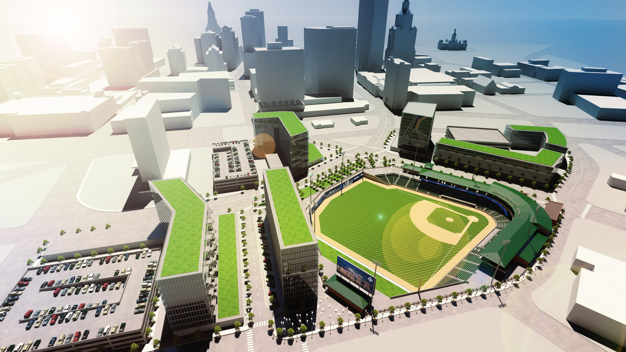 An overview of what a minor-league baseball stadium in Hartford may look like.